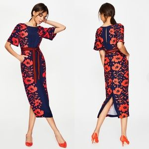 BODEN Elspeth Midi Dress Floral Red Flowers